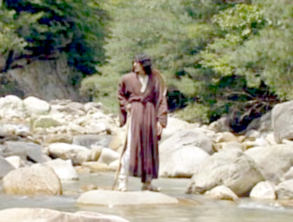 Boss Jang stands alone on a boulder in the middle of a rocky river