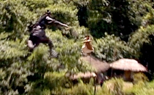 Officer Lee and Boss Jang hurtle through the treetops while swordfighting;