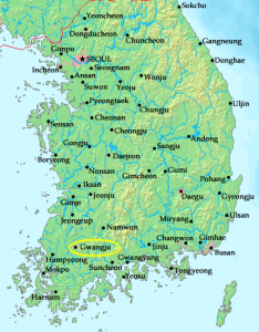 A map of Korea with the city of Gwangju in the southwestern region circled