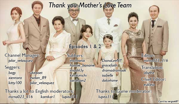 A thank you card showing subtitler credits for the Mother's Love team at Viki