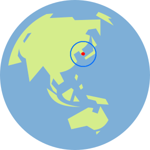 A globe with Asia showing, and the Korean peninsula marked with a dot and a circle