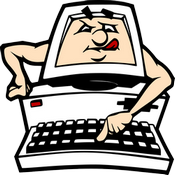 A frowning man's face with his tongue sticking out to one side in effort and his arms coming out the side of the monitor to type on the keyboard below it