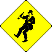 A diamond shaped yellow warning sign with a drunk man on it