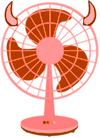 A drawing of an electric fan in red, with horns on either side like a devil's head