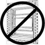A drawing of an open window with a crossed circled NOT symbol across it