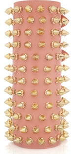 full forearm gauntlet in pink leather completely covered with with gold spike studs;