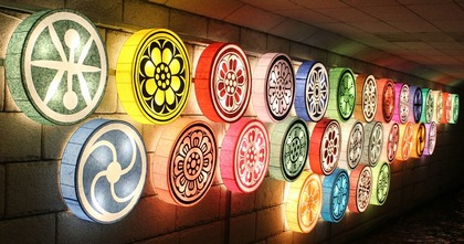 Colorful lanterns shaped liked sideways drums and decorated with different circular flower patterns