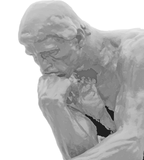 A closeup of August Rodin's statue, The Thinker, of a man resting his chin on his hand while pondering something